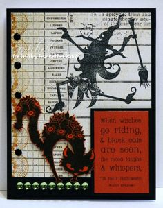 Prickley Pear Rubber Stamps:Scary Cats and Bats Clearly Beautiful Stamp Set, Scary Cats and Bats Die, Dancing Witch