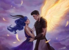 """Angel and Chimaera by axxxa06 """"Karou and Akiva from Laini Taylor's Daughter of smoke and bone triology. Love these two!"""""""
