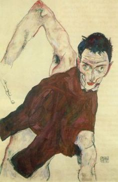 Egon Schiele, Self-portrait in jerkin with right elbow raised, 1914 Gouache, watercolor and pencil on paper Baltimore Museum of Art. Gustav Klimt, Klimt Art, Famous Art Paintings, Great Paintings, Oil Paintings, Fondation Louis Vuitton, Wassily Kandinsky, Vincent Van Gogh, Charles Rennie Mackintosh
