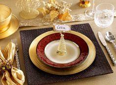 Pier 1 - Scalloped Capiz Placemat • Amadora Dinner Plate • Botanica Salad Plate • Amber Crackle Flute & Tumbler • Bird Filled Candle • Butterfly Gem Mix • Botanica Bowl • Wave Flatware • Variegated Dinner Napkin with Pearl Cluster Napkin Ring