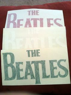 "The Beatles 9 1/2""x5"" Large RED Window Sticker Decal new old stock"