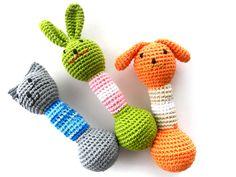 Baby Teething toy Amigurumi Doggy Rattle Crochet animal toy Baby shower gift Organic toy. $15.00, via Etsy.