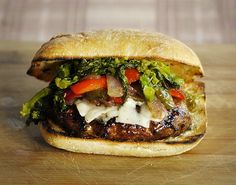 Food Hunters Guide to Cuisine: The Italian Sausage Burger, Italian Sausage Burgers with Garlicky Spinach SunDried Tomato Pesto – Elly Says . Italian Sausage Burger Recipe, Italian Burger, Tapas, Food Hunter, Bbq Menu, Grilled Sausage, Cooking Recipes, Healthy Recipes, Healthy Food