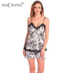 Ladies Sexy Silk Lace Nightwear Satin V-Neck Cami And Shorts Set Comfy  Pajamas Pretty Nighties Babydoll Pajama Sets 9701b8665