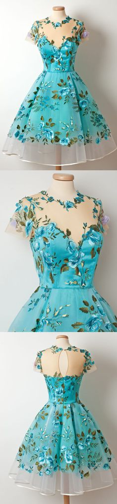 Homecoming Dresses 2018 2017 Short Sleeves Unique Applique Blue Short Homecoming Dresses, The homecoming dresses are fully lined, 8 bones in the bodice, chest pad in the bust, lace up back or zipper back are all availa Grad Dresses, Dance Dresses, Homecoming Dresses, Dress Outfits, Short Dresses, Fashion Dresses, Formal Dresses, Fashion Fashion, 2000s Fashion
