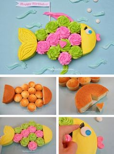 Cupcake Fish Cake--make with donuts instead of cupcakes, make cakes orange for gold fish. (Or cut out of paper) Fish Cake Birthday, 2nd Birthday, Birthday Parties, Birthday Ideas, Cupcake Kitchen Theme, Kitchen Themes, Kitchen Decor, Fishing Cupcakes, Cake Tutorial