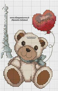 THUN SCHEMI PUNTO CROCE: TOVAGLIETTE COLAZIONE TEDDY THUN ON THE ROAD SCHEMI PUNTO CROCE Minnie Baby, C2c, Canvas Patterns, Cross Stitching, Cross Stitch Patterns, Needlework, Creations, Teddy Bear, Crafty