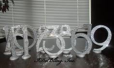creative table number ideas for weddings | Bling Crystal Rhinestone Wedding Reception Table by IDoBlingInc