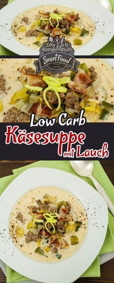 Diese Low Carb Käsesuppe mit Lauch ist schnell zubereitet, wärmt Körper & See… This low carb cheese soup with leeks is prepared quickly, warms body & soul, is practical and so awesome yummy :] Healthy Soup Recipes, Diet Recipes, Vegetarian Recipes, No Calorie Foods, Low Calorie Recipes, Menu Dieta, Quick And Easy Soup, Cheese Soup, Feta
