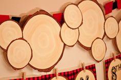 Décor: Paper Wood Slices  {via Piggy Bank Parties}