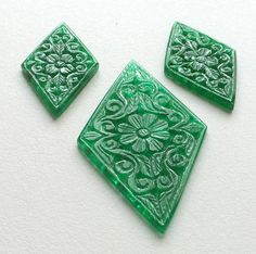 Green Aventurine Filigree Hand Carved 3 Pc Set by gemsforjewels