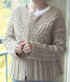 Cabled Yoke Cardigan ,free pattern from Lion Brand on Ravelry