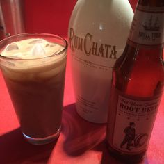 Root beer float   3 Parts Not Your Father's Root Beer  1 part RumChata  Pour half the Root Beer over ice. Add RumChata. Add the rest of the Root Beer. Let sit for a minute.