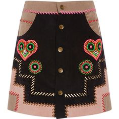 Manish Arora Tribal Noir Hand Embroidered Mini Skirt ($865) ❤ liked on Polyvore featuring skirts, mini skirts, tribal print skirt, short a line skirt, button front skirt, short mini skirts and embroidered skirt