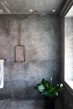 A very cool, industrial bathroom solution! #industrialart #slowart