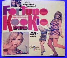 Cosmetically Yours 'Fortune Kookie' Lipstick Countertop Display Card, 1967