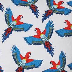 Parrot Fabric - - upholstery fabric - curtain fabric - bird fabric - designer fabric - tropical fabric - cotton fabric - fabric by the yard