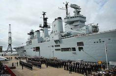 Invincible-class HMS Illustrious has been decommissioned at a service at Portsmouth Naval Base after 32 years. If the ship is sold, the buyer must keep Illustrious in the UK. Hms Illustrious, Waves Goodbye, Royal Marines, Flight Deck, Navy Ships, Aircraft Carrier, Royal Navy, Battleship, Sailing