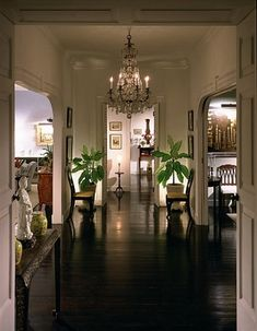British Colonial Entry Hallway - Barbados - This hallway displays the formality that can become of the British Colonial look. The polished floors and dark woods are important to this type of British Colonial design. West Indies Decor, West Indies Style, British West Indies, Tropical Home Decor, Tropical Houses, Tropical Interior, Tropical Plants, Tropical Furniture, Tropical Style