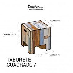 Kartelier | Muebles de cartón - Taburete cuadrado de cartón