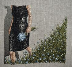 A fragile clarity - Michelle Kingdom, X on linen (based on a vintage Helmut Newton photograph) Contemporary Embroidery, Modern Embroidery, Embroidery Art, Embroidery Designs, Creative Embroidery, Sculpture Textile, Textile Fiber Art, Textile Artists, Textiles