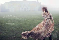 Magdalena Jasek models dreamy dresses for Harper's Bazaar UK March 2016 by Regan Cameron
