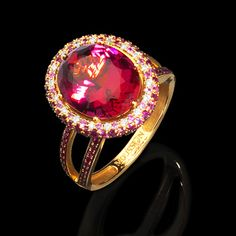Mousson Atelier, collection New Classic, Yellow gold 750, Pink tourmaline , Diamonds, Rubies, Pink sapphires