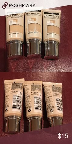 Maybelline Affinitone Hydrating foundation Maybelline Affinitone Hydrating tone-one-tone  foundation Natural radiance# 14 creamy beige; # 16 Vanilla Rose and #17 Rose Beige, all 3 very lightly used Maybelline Makeup Foundation