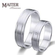 #Alianza #boda oro blanco #Maiter mate 50mm con 1brillante 0.015cts  www.joyasmaiter.com