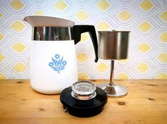Corningware Coffee Pot, Corningware blue cornflower coffee percolator, Coffee maker, Retro filter coffee percolator, Vintage kitchenware