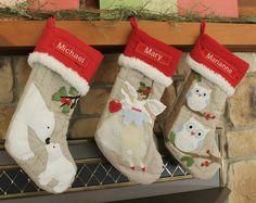 Polar Bear Christmas Stocking with Monogram Pottery Barn Woodland Stocking --- Free Monogram on Etsy, $28.50