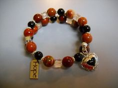 Red JASPER and Black ONYX Beaded Memory Wire by Beads4You2008,