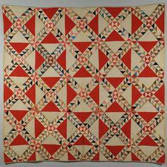 SC quilt, c. ocean waves w/ watermelon print SC quilt, c. ocean waves w/ watermelon SC quilt, c. ocean waves w/ watermelon print Quilts Vintage, Old Quilts, Antique Quilts, Scrappy Quilts, Primitive Quilts, Quilting Projects, Quilting Designs, Textiles, Triangles