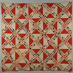 "SC quilt, c. 1890, ocean waves w/ watermelon print, 76 x 79"", Case Antiques, Live Auctioneers"