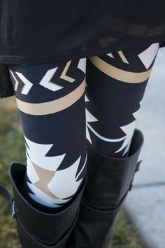 Love these leggings! Adorable latest aztec leggings trend but I like how the print in these is larger than most Mode Outfits, Fashion Outfits, Womens Fashion, Fashion Trends, Fall Winter Outfits, Autumn Winter Fashion, Aztec Leggings, Printed Leggings, Patterned Leggings