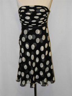 ANN TAYLOR Silk Strapless COCKTAIL PARTY DRESS Black & Cream Polka Dots size 0P #AnnTaylor #Cocktail