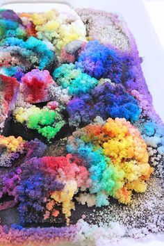 Science for Kids: Learn how to grow colorful DIY Crystal Landscapes using salt and bluing! Great science fair project.