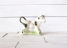 Vintage Lusterware Cow Figurine by gaudyfairy on Etsy