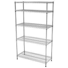 5 Shelf 72 in. H x 42 in W x 18 in. D Wire Unit in Chrome (Grey) Wire Storage, Shed Storage, Storage Shelves, Storage Spaces, Shelf, Lifetime Storage Sheds, Corner Storage Unit, Stacking Shelves, Wire Shelving Units
