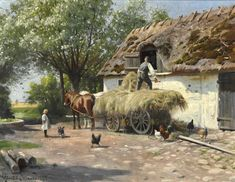 The hay is being loaded into the hayloft on a sunny day. by Peder Mork Monsted. Farm Paintings, Landscape Paintings, English Country Cottages, Farm Art, Cottage Art, Autumn Scenery, Country Art, Rhone, Landscape Pictures
