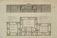 Newgate was London's largest prison 1800 housing prisoners. The brutal, almost windowless appearance was part of the punishment and deterrence. The Plan, How To Plan, British Architecture, Architecture Details, City Architecture, London History, Regency Era, London Underground, Vintage Maps