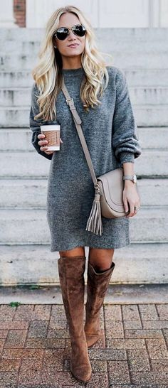 cute winter outfit_grey sweater dress + bag + brown over the knee boots - Outfit.GQ cute winter outfit_grey sweater dress + bag + brown over the knee boots Cute Winter Outfits, Fall Outfits, Outfit Winter, Look Fashion, Trendy Fashion, Fall Fashion, Fashion Women, 2018 Winter Fashion Trends, Cheap Fashion