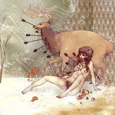 Adult pictures of fairy-tale characters from the artist Chelsea Greene Lewyta - 26 Hirsch Illustration, Deer Illustration, Chelsea, Arrow Art, St Sebastian, Fine Art Drawing, Adult Cartoons, Fan Art, Online Gallery