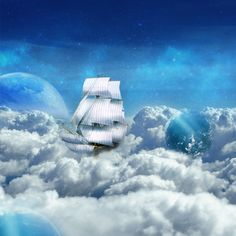 Sky Ship #surreal #surrealism #planets #sky #ship #clouds #blueworld