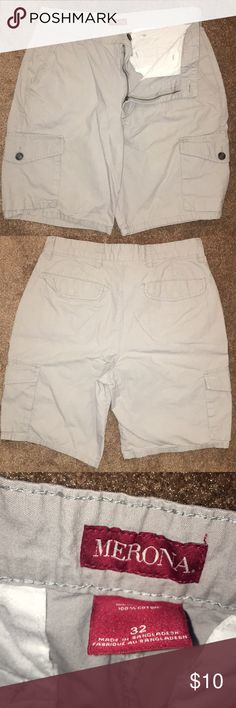 Khaki Shorts -100% cotton -good condition -grey -32 waist -ask for more pictures if you want -offers welcome -Check out the rest of my closet!! Merona Shorts Cargo