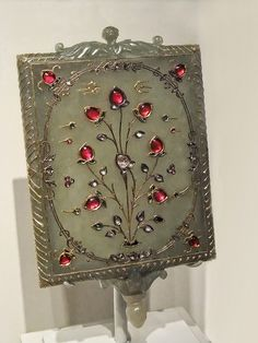 Mirror frame with Tree of Life Motif India Mughal period 17th-18th century CE Nephrite jade gold rubies emeralds and diamonds inset in the kundan technique by mharrsch, via Flickr.Thews Style Jewelry.