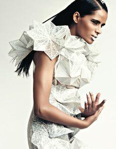 Geometric Fashion - experimental dress design with faceted structure - 3D fashion; wearable art // Alpana & Neeraj