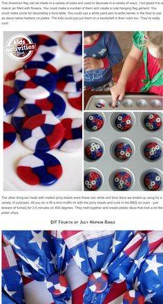 Kids can easily help make Fourth of July melted pony bead decor for your own Independence Day celebrations. Fourth of July Crafts for Kids. Fourth Of July Crafts For Kids, Fourth Of July Decor, 4th Of July Fireworks, 4th Of July Party, Summer Crafts, Holiday Crafts, Kids Crafts, Christmas Diy, Melted Pony Beads