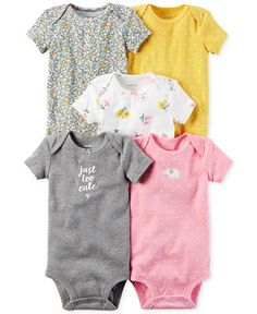 Carter's 5-Pk. Cotton Just Too Cute Bodysuits, Baby Girls (0-24 months) - All Baby - Kids & Baby - Macy's