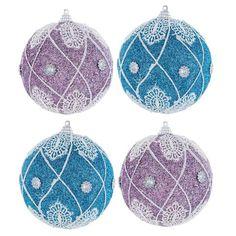 Light Blue & Purple Lacy Polyfoam Ball Ornaments